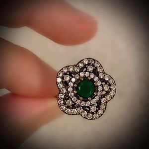 EMERALD FLOWER FINE ART RING Size 9 Solid 925/Gold